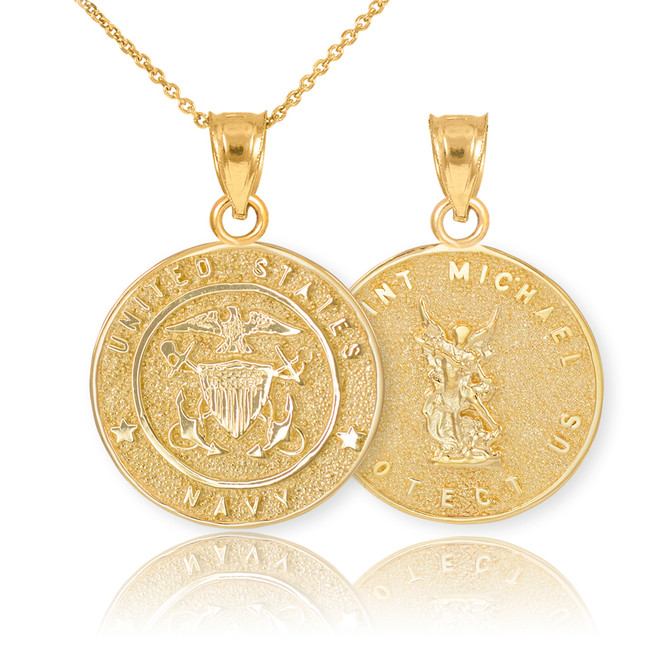 Gold US Navy Reversible St. Michael Pendant Necklace