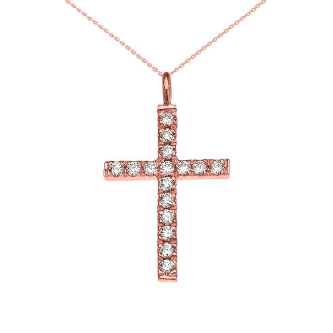 Elegant Rose Gold Cubic Zirconia Cross Pendant Necklace