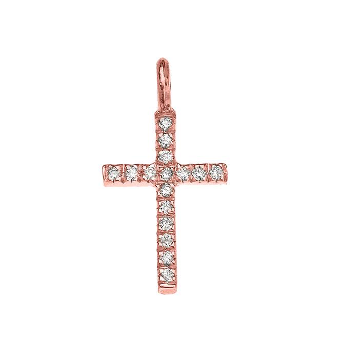 Rose Gold Cubic Zirconia Cross Charm Pendant Necklace