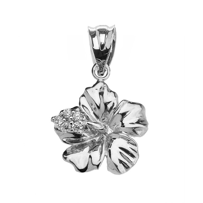 White Gold Caribbean Hibiscus (Malvaceae) Dainty Cubic Zirconia Pendant Necklace