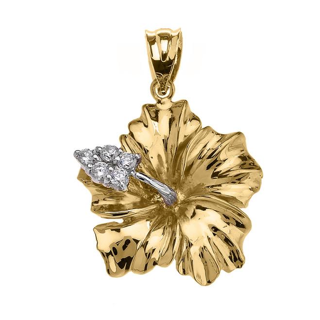 Yellow Gold Caribbean Hibiscus (Malvaceae) Diamond Pendant Necklace