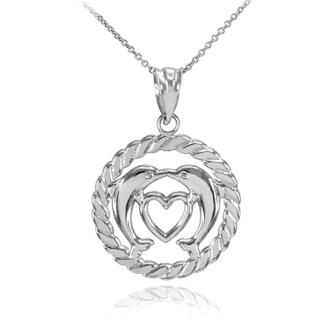 Silver Heart Kissing Dolphins in Circle Rope Pendant Necklace