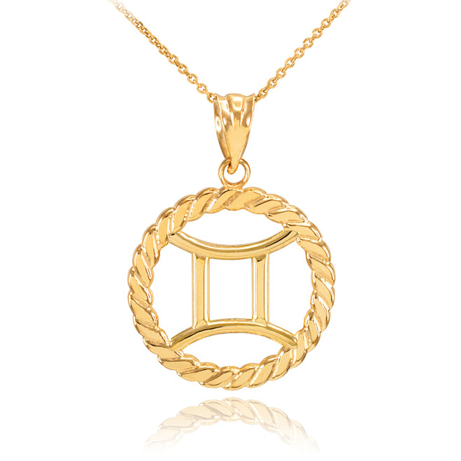 Gold Gemini Zodiac Sign in Circle Rope Pendant Necklace