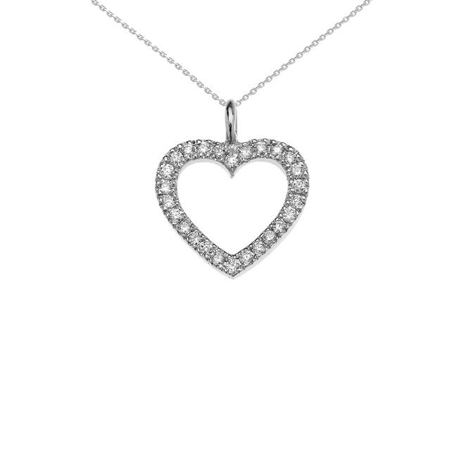 14k White Gold Open Heart  Diamond Dainty Pendant Necklace