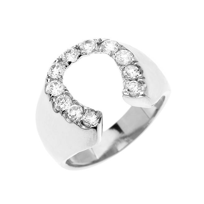 White Gold Diamond Horseshoe Lucky Men's Ring