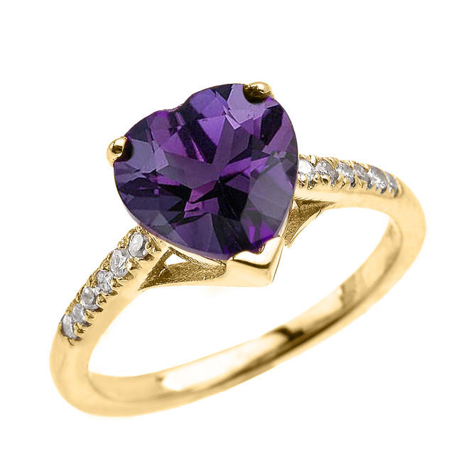 Yellow Gold Solitaire Heart Amethyst and Diamond Engagement Proposal Ring