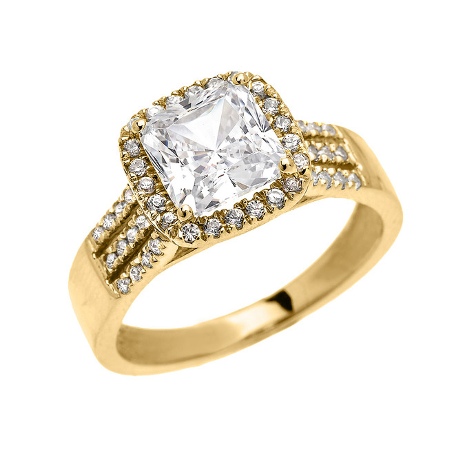 Elegant Yellow Gold 3 Carat Princess Cut CZ Micro-Pave Halo Solitaire Ring