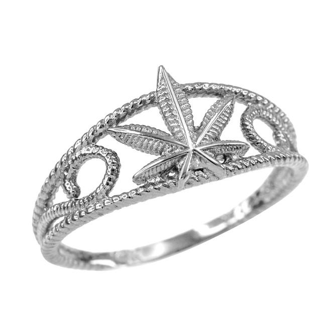 Women's Silver Textured Filigree Weed Marijuana Leaf Ring