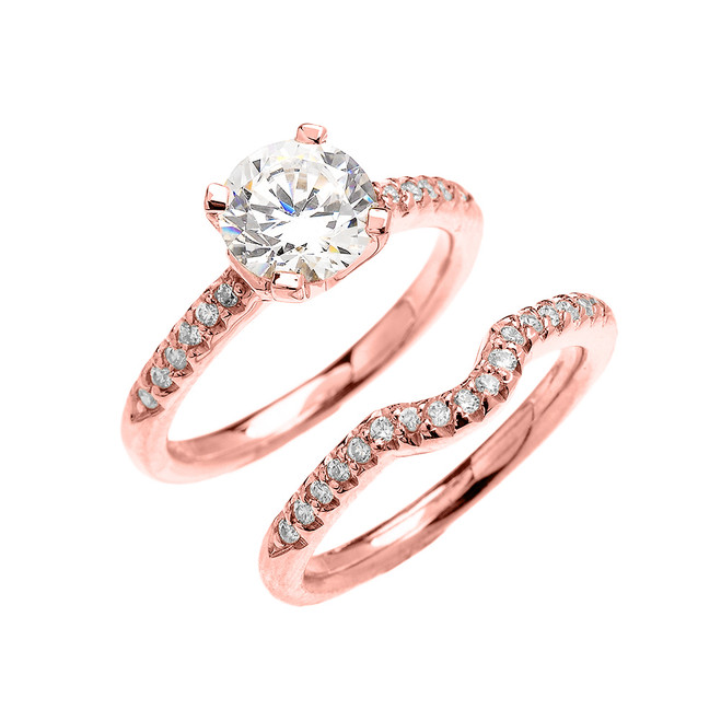Rose Gold Dainty Round Cubic Zirconia Solitaire Wedding Ring Set