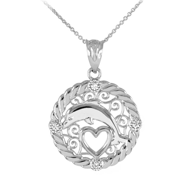 White Gold Roped Circle Diamond Jumping Dolphin Heart Filigree Pendant Necklace