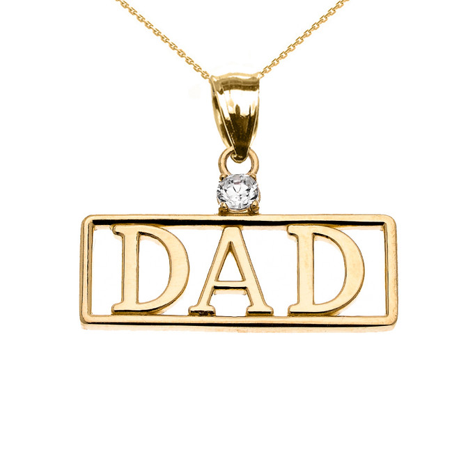 """Yellow Gold """"DAD"""" Cubic Zirconia Pendant Necklace"""