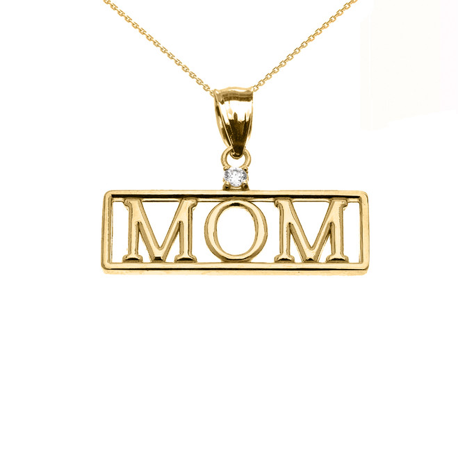 "Yellow Gold ""MOM"" Diamond Pendant Necklace"
