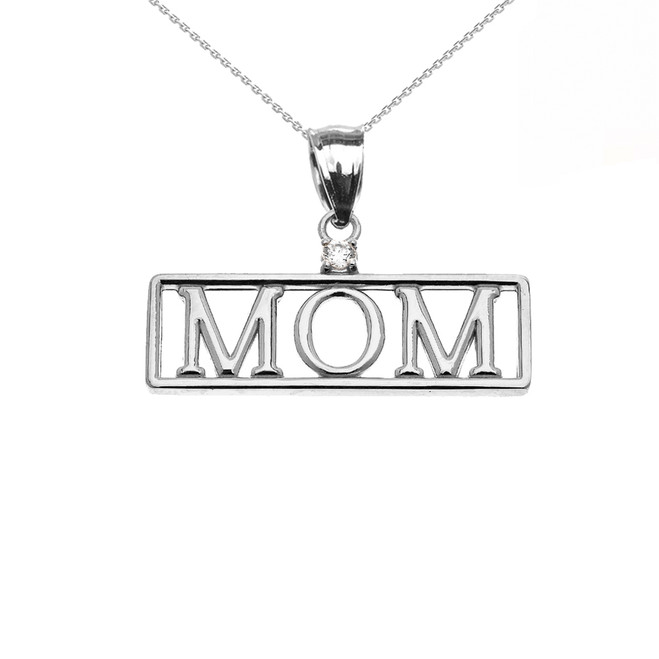 "White Gold ""MOM"" Diamond Pendant Necklace"