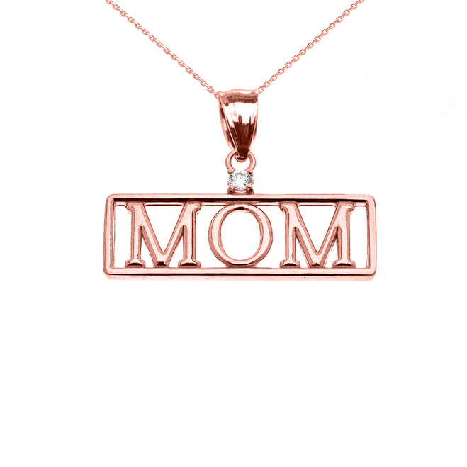 "Rose Gold ""MOM"" Diamond Pendant Necklace"