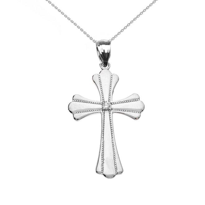White Gold Solitaire Diamond High Polish Milgrain Cross Pendant Necklace