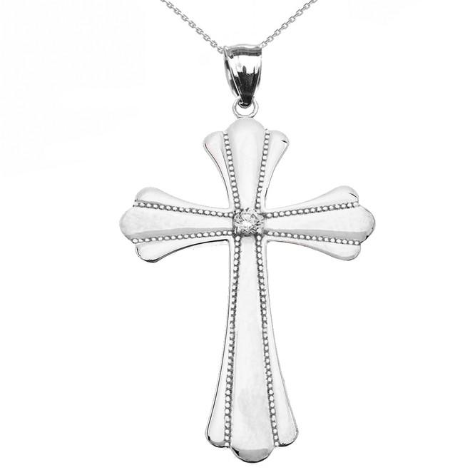 White Gold Solitaire Diamond High Polish Milgrain Cross Pendant Necklace (Large)