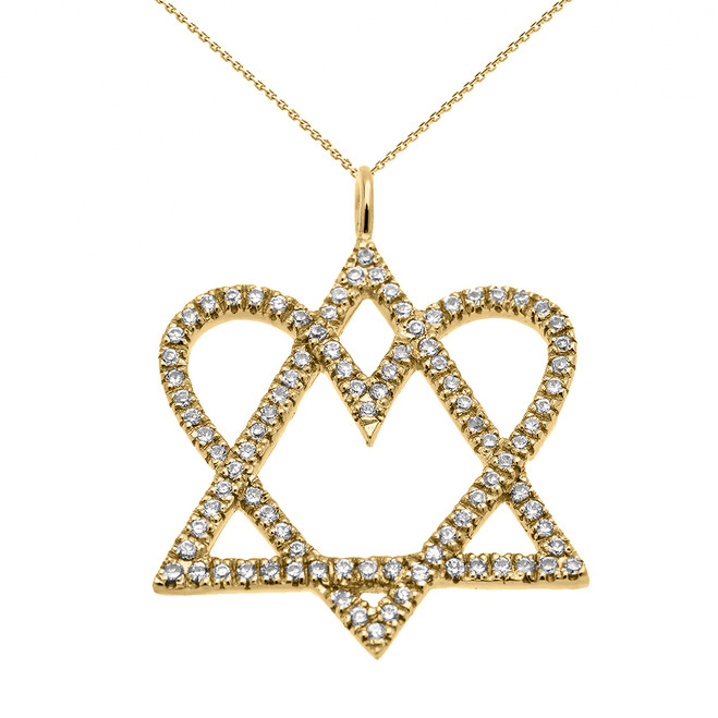 14k Yellow Gold Star of David Love Heart Diamond Pendant Necklace