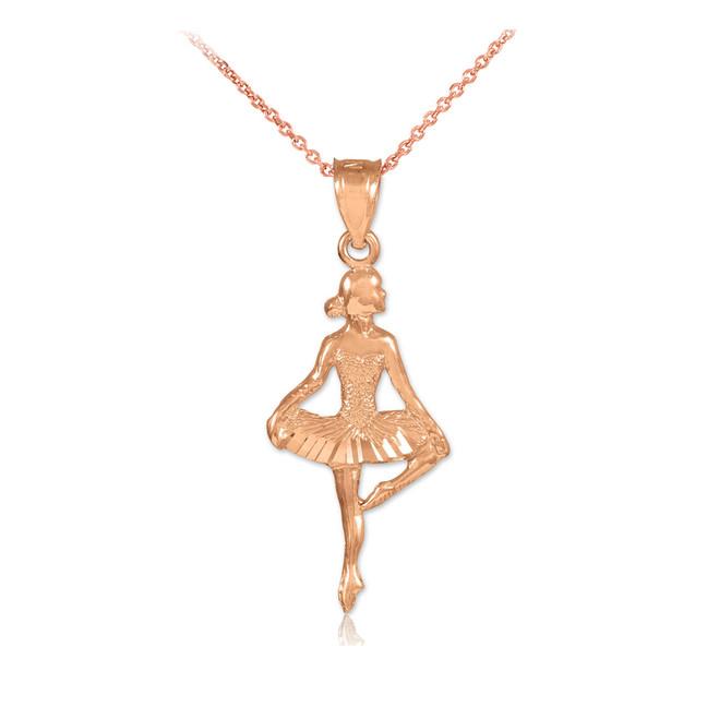 Rose Gold Ballet Dancer Pendant Necklace