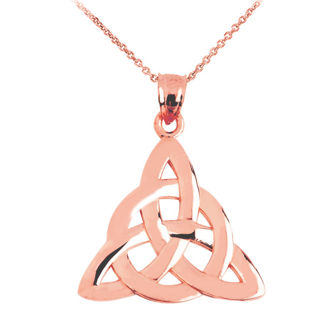 Rose Gold Celtic Trinity Pendant Necklace