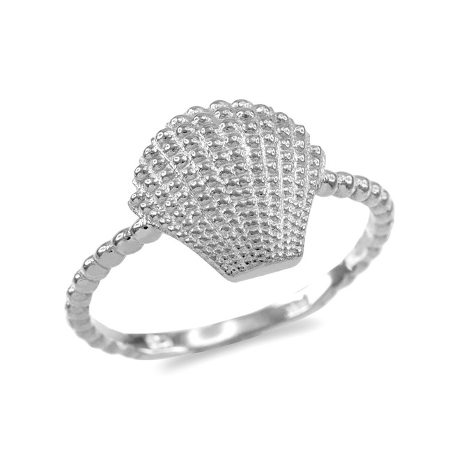 Fine White Gold Beaded Band Seashell Ring