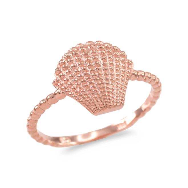 Fine Rose Gold Beaded Band Seashell Ring