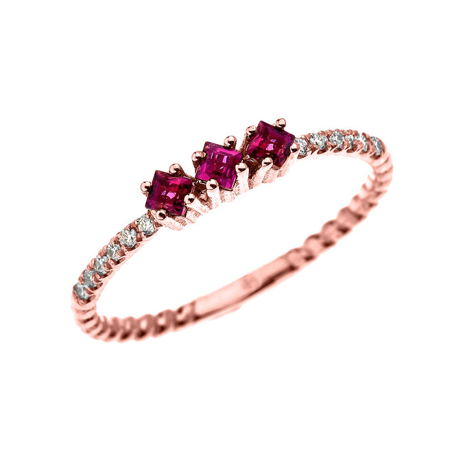 Rose Gold Dainty Three Stone Ruby and Diamond Rope Design Engagement/Proposal/Stackable Ring