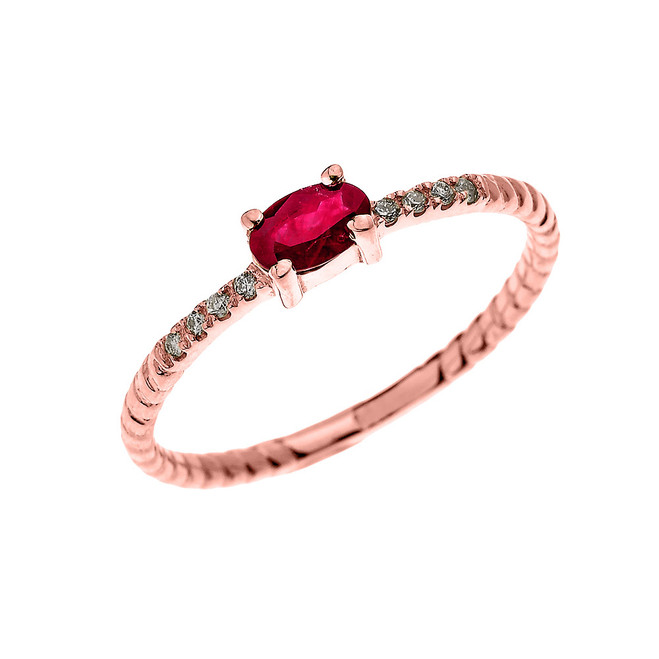 Rose Gold Dainty Solitaire Oval Ruby and Diamond Rope Design Engagement/Proposal/Stackable Ring