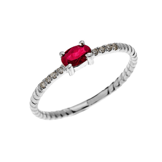White Gold Dainty Solitaire Oval Ruby and Diamond Rope Design Engagement/Proposal/Stackable Ring