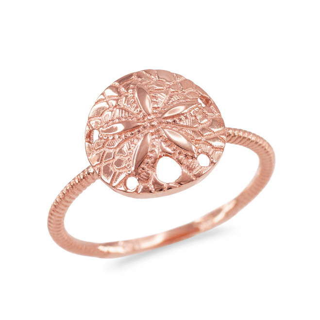 Rose Gold Twisted Rope Band Sand Dollar Ring