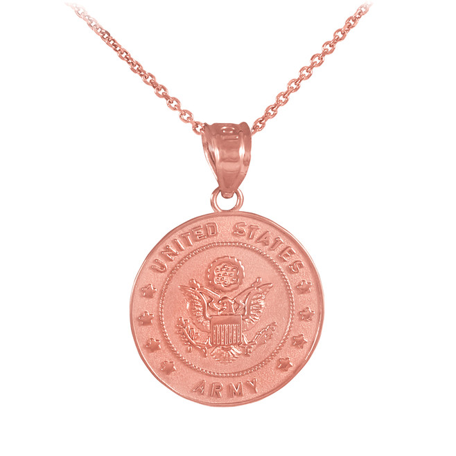 Rose Gold Medal-Style Charm US Army Coin Military Pendant Necklace