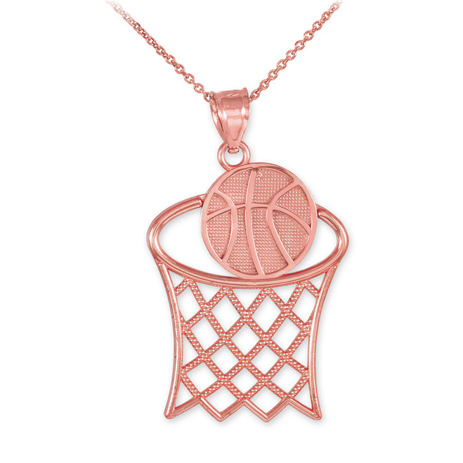 Rose Gold Basketball Hoop Sports Charm Pendant Necklace