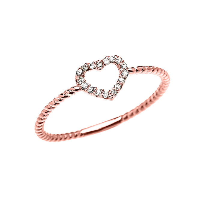 Rose Gold Dainty Open Heart Diamond Rope Design Promise/Stackable Ring