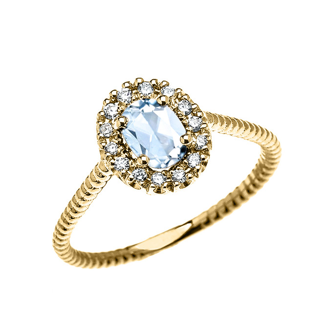Yellow Gold Dainty Halo Diamond and Oval Aquamarine Solitaire Rope Design Engagement/Promise Ring