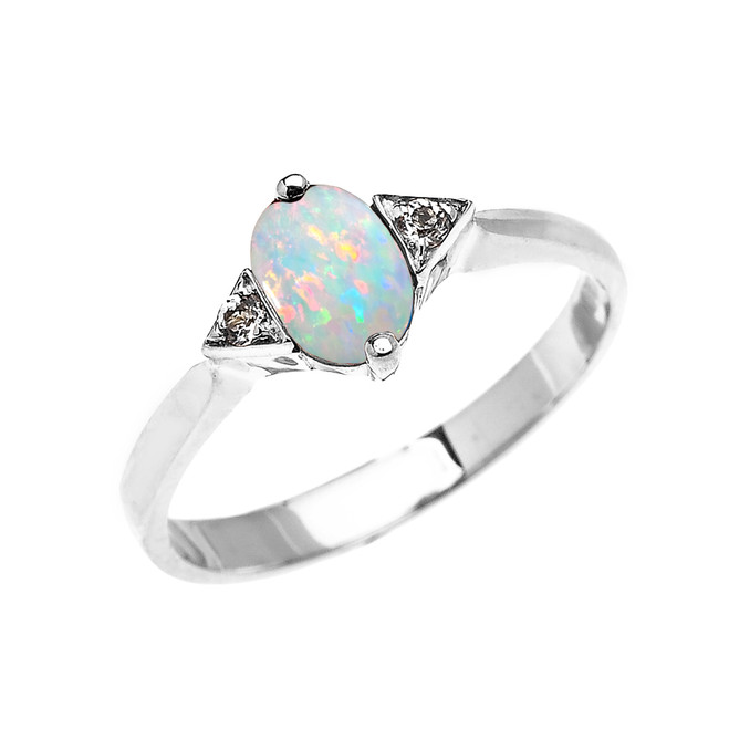 White Gold Solitaire Oval Opal and White Topaz Engagement/Promise Ring