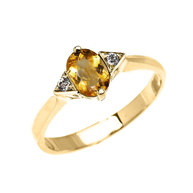 Yellow Gold Solitaire Oval Citrine and White Topaz Engagement/Promise Ring