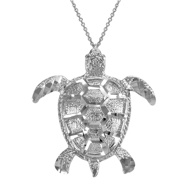 Sterling Silver Textured Style Sea Turtle Pendant Necklace