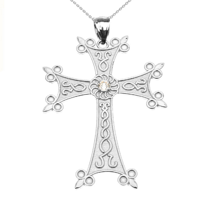 White Gold Elegant Armenian Cross with Eternity Cubic Zirconia  Pendant Necklace (Large)