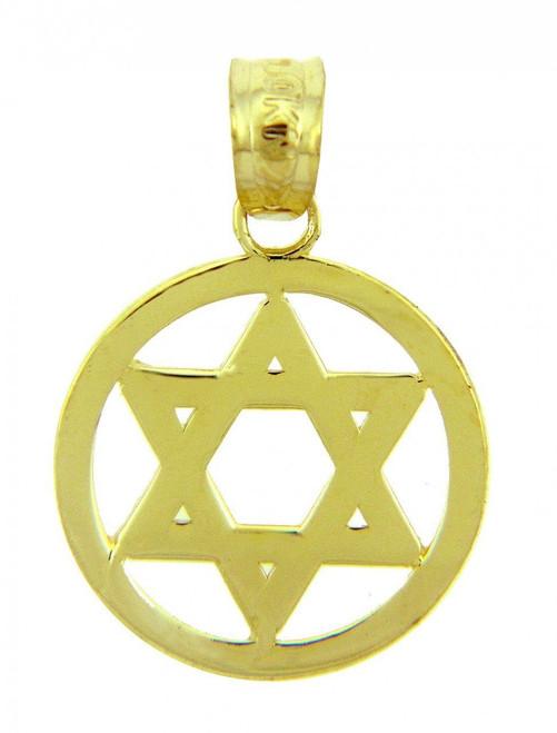 14k Yellow Gold Centered Jewish Star of David Charm Pendant