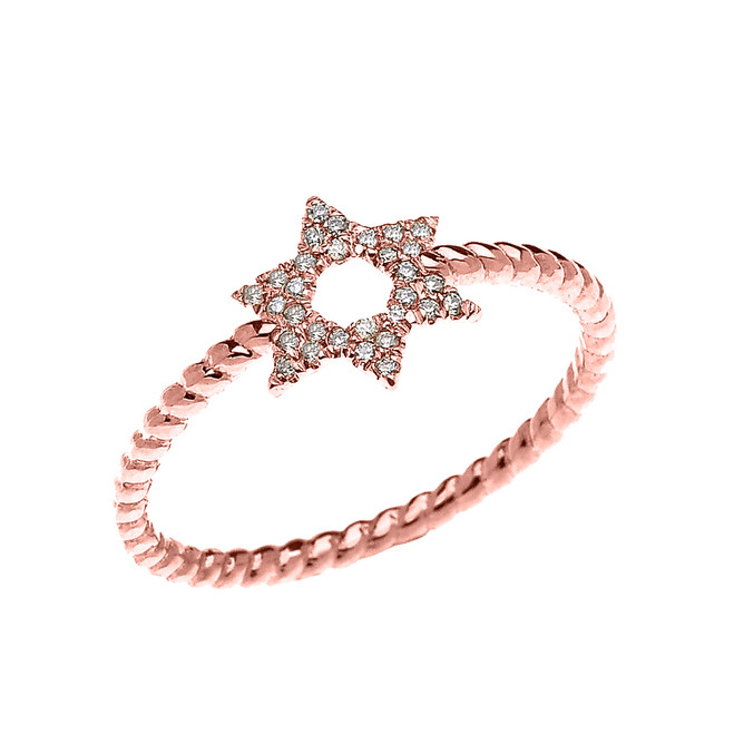 Rose Gold Dainty Star of David Diamond Rope Design Ring