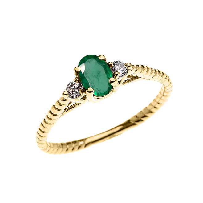 Dainty Yellow Gold Emerald Solitaire Rope Design Engagement/Promise Ring