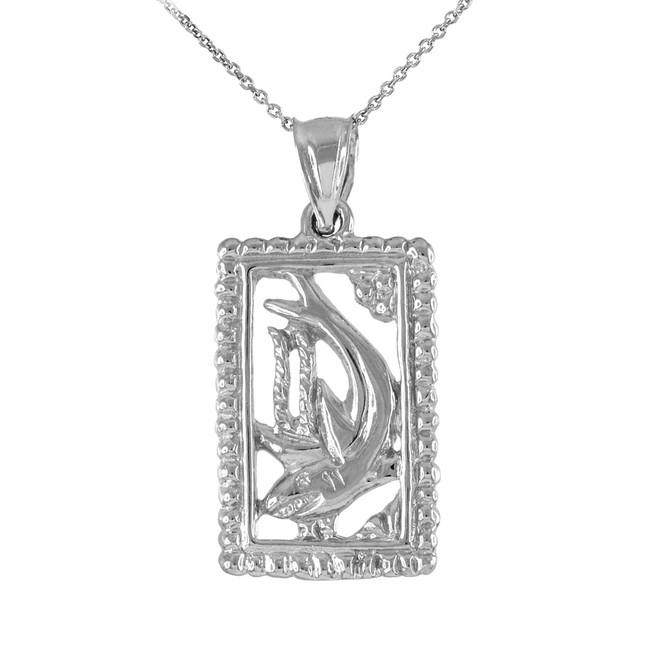 Sterling Silver Shark Beaded Frame Pendant Necklace