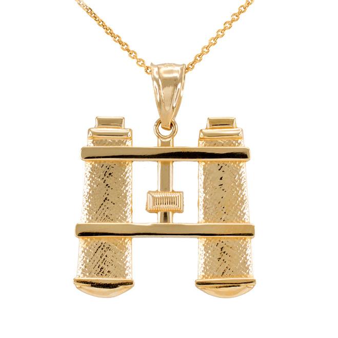 Gold Binoculars Pendant Necklace