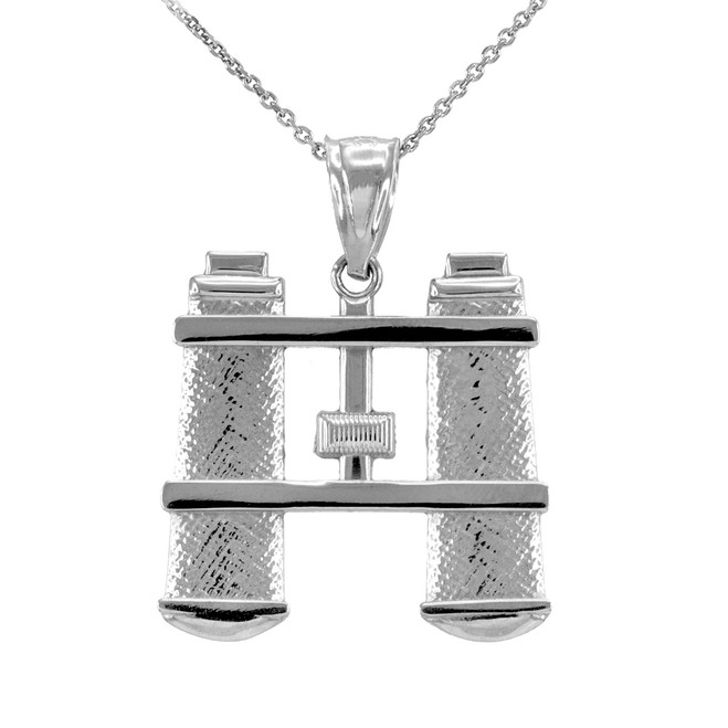 Sterling Silver Binoculars Pendant Necklace