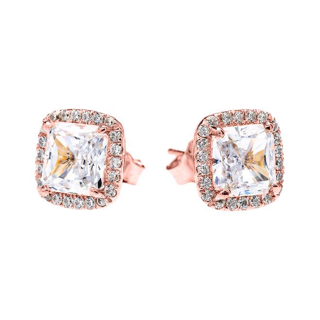 Rose Gold Elegant Diamond Halo Solitaire Princess Cut Cubic Zirconia Stud Earrings