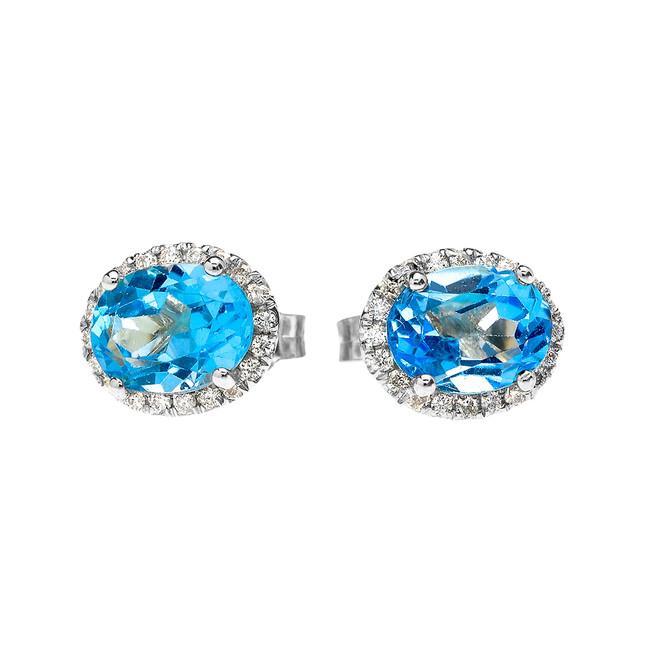 White Gold Elegant Diamond Oval Halo Solitaire Blue Topaz Stud Earrings