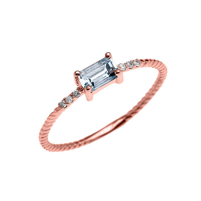 Dainty Rose Gold Solitaire Emerald Cut Aquamarine and Diamond Rope Design Engagement/Promise Ring