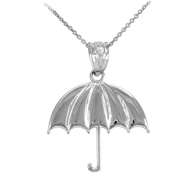 White Gold Open Umbrella Pendant Necklace