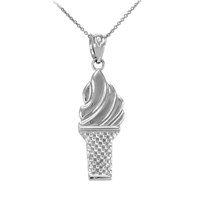 Sterling Silver Ice Cream Cone Charm Necklace