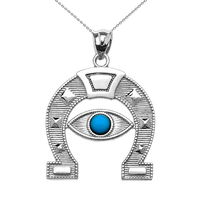 White Gold Evil Eye Protection Horse Shoe Good luck Pedant Necklace