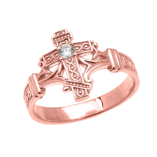 Rose Gold Solitaire Cubic Zirconia Orthodox Cross with Encrypted Russian Prayer Elegant Ring